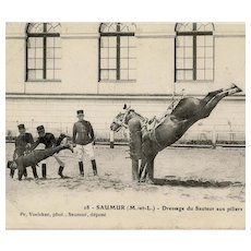 Real photo, antique French postcard of dressage training with pillars at Saumur