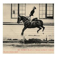 French, real photo postcard of a horse and rider performing capriole Saumur 1926