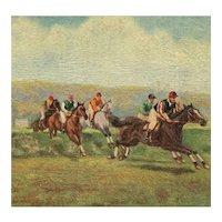 Unposted, artist signed, Tuck Oilette postcard of horses steeplechasing