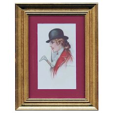 Framed to reveal both sides, artist signed Busi postcard of fox hunting woman