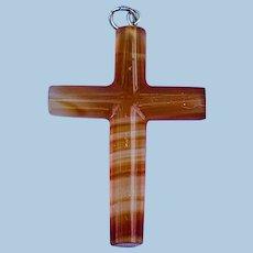 Agate Cross Pendant, Victorian