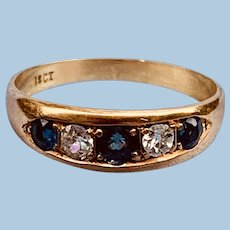 18 K, Late Victorian, Gypsy Ring, Sapphires and Diamonds