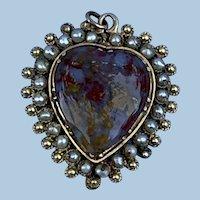 Agate Heart Pendant, Georgian