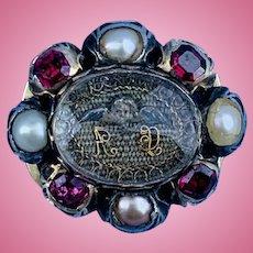 Stuart Crystal Slide, Pearls and Garnets, Angel, Enameled Back, 1690