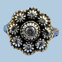 Rose Cut Diamond Ring Cluster, Early Victorian