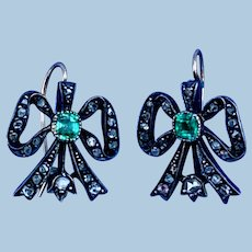 Emerald and Rose Cut Diamond Bow Earrings, Victorian
