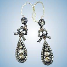 Rose Cut Diamond Earrings, Victorian