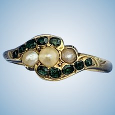 Emerald and Pearl Ring, Victorian