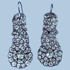 Georgian Paste and Silver Earrings