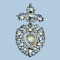 French Silver and Paste Heart Pendant, Victorian