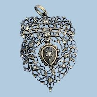 French Rose Diamond,Silver, and Gold Heart Pendant, Georgian