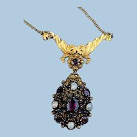 Garnet and Pearl Pendant/Brooch, Early Victorian