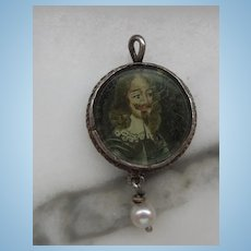 Portrait Miniature of Charles I, Enamel Back, Baroque Pearl