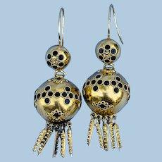 18 k gold and enamel earrings, Victorian