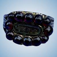 Garnet Hair Ring, Georgian Mourning Ring