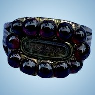 Garnet Hair Ring, Georgian Mourning Ring