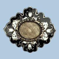 Mourning Brooch, Enamel and Hair