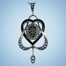 Memorial Pendant, Entwined Hearts, Enamel and Natural Pearls