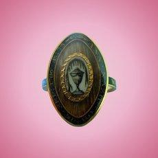 Memorial Ring, Georgian, Black Enamel, and Urn