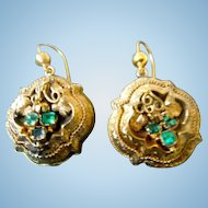 15 ct Emerald Earrings, Victorian