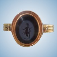 18 ct ring with ancient (BC) agate Roman intaglio