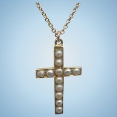 Gold Cross With Natural Pearls, And Chain,1918