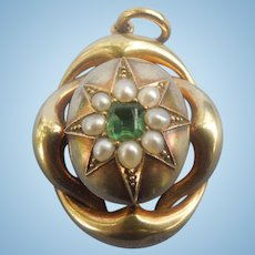 15 ct. Emerald, and Pearl Locket, Victorian