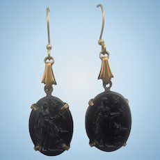 Black Glass Earrings With Image, Victorian