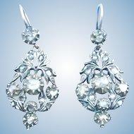 Rose Cut Diamond Earrings, Georgian