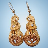Gold Earrings With Crystal, Victorian