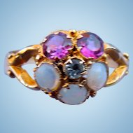 Opal and Amethyst, Pansy Ring, Victorian