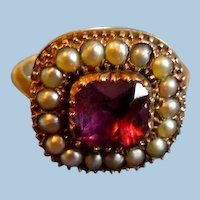 Amethyst and Natural Pearl Ring, Georgian