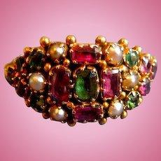 Gem Set Cluster Ring, Victorian
