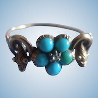 Forget me Not Ring, Turquoise, diamond, With Snake, Victorian