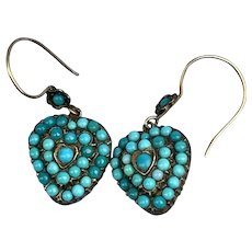 Turquoise  Heart Earrings With Hair Pocket, Victorian