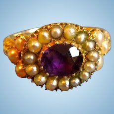 Amethyst and Natural Pearl Ring, Early Victorian
