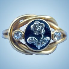 Enamel and Diamond, Lover's Knot, Forget-Me-Not Ring, Victorian