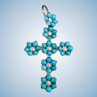 Turquoise and Natural Pearl Cross, Victorian