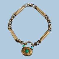 15 carat gold bar bracelet (Georgian) with Turquoise padlock