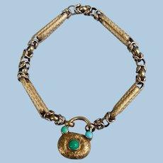 15 carat gold bar bracelet (Georgian) with Turquoise padlock