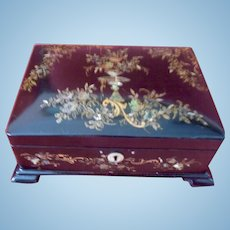 Sewing Box, Painted, Mother of Pearl Inlaid, Victorian