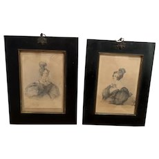 Mother and Daughter, Pair of Pencil Sketches, Georgian