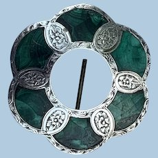 Lovely brooch/pendant, Scottish Malachite and Silver
