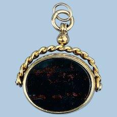 9 K Watch Fob/Seal, Swivel, Bloodstone and Carnelian