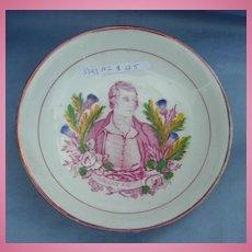 Pink Lustre, Berry Bowl, Robert Burns, Early Victorian