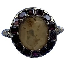 Moss Agate and Garnet Ring, Georgian