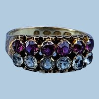 Aquamarine and ruby ring, Victorian