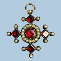 15 Carat Garnet and Pearl Pendant/brooch/ Victorian