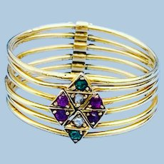 Harem Ring, Diamond, Ruby, Emerald, Victorian