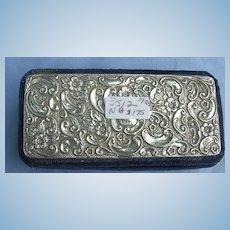 Silver Top, Velvet Trinket, Jewelry Box, Edwardian